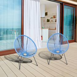 Outsunny Conjunto de 2 Cadeiras de Jardim Acapulco de Vime Forma Oval com Apoia Braços Encosto Alto para Interior Exterior 73x77x87 cm Azul