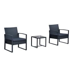 Outsunny Conjunto de Mobiliário de Rattan para Jardim e Exterior, com 1 Mesa e 2 Cadeiras - Cor: Preto - Polirattan, Aço e Poliéster