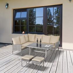 Outsunny Conjunto de móveis de jardim de 6 peças de vime Conjunto de sofá de 2 lugares Banco e mesa de jantar com almofadas acolchoadas Varanda cinza e cáqui
