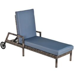 Outsunny Espreguiçadeira de vime com almofadas acolchoadas Encosto ajustável em 5 posições 2 rodas 67x196x51 cm Cinza