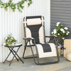 Outsunny Espreguiçadeira dobrável e reclinável de aço com apoio de cabeça removível Suporte para copos e apoio de braços para jardim externo 90x75x110 cm Bege