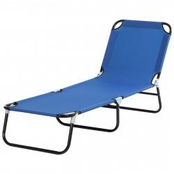 Outsunny Espreguiçadeira dobrável reclinável com ângulo ajustável de 3 posições para exterior carga 120 kg 190x56x28 cm Azul
