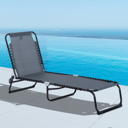 Outsunny Espreguiçadeira dobrável reclinável e ajustável 3 posições para jardim com sistema de laço Estrutura de Aço 197x58x76 cm cinza