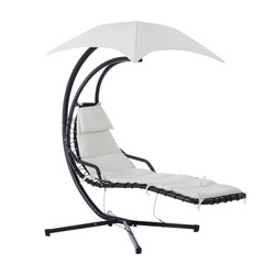 Outsunny Espreguiçadeira Pendurado com Guarda-sol Rede Balancim para Jardim 194×117×192cm