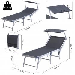 Outsunny Espreguiçadeira reclinável e dobrável com toldo 169x72x55 / 72cm cinza