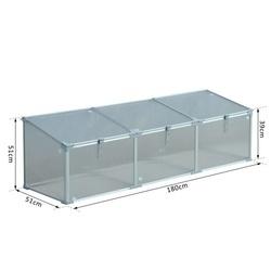 Outsunny Estufa de Jardim Alumínio Policarbonato Transparente Viveiro Caseiro para Plantas Culturas Proteção UV e Resistente 180x51x51cm