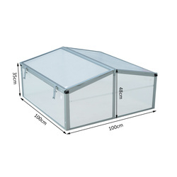 Outsunny Estufa de Jardim Alumínio Policarbonato Transparente Viveiro para Plantas Culturas 100x100x48 cm