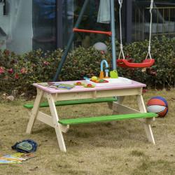 Outsunny Mesa de piquenique de madeira para crianças com jogos e bancos 14 Brinquedos de cozinha Caixa de areia Pia Uso ao ar livre 94x89x50,5 cm Multicolor