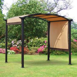 Outsunny Pergola 3x2,5 m com teto retrátil para jardim pátio Terraço Tecido de poliéster parafusado resistente aos raios UV Bege