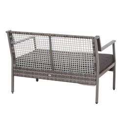 Outsunny Rattan Sofá Dois Assentos com Almofada Removível cor Cinza 118x75x79 cm