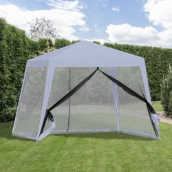Outsunny Tenda de Jardim 3x3m com 4 Partes Laterais Mosquiteiro com Zíper Proteção UV para Patio Cinza