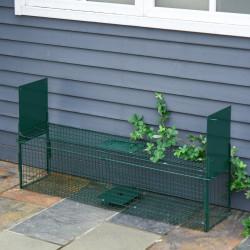 PawHut Armadilha com 2 portas para animais vivos Gaiola de captura de metal com alça 100x25x28 cm Verde escuro