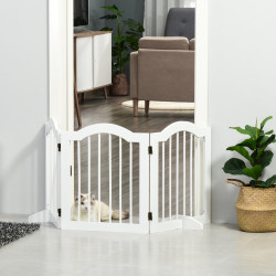 PawHut Barreira de Segurança Dobrável para Cães Pequenos Barreira de Proteção para Animais de Estimação com 3 Painéis e 2 Suportes para Portas Escadas Corredores 154,5x29,5x61 Branco