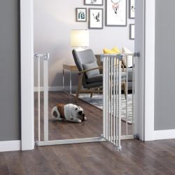 PawHut Barreira metálica de segurança para Animais de estimação Cães com extensões de 17,5 cm Sistema de fechamento automático 74,5-84,5x76,2 cm Branco
