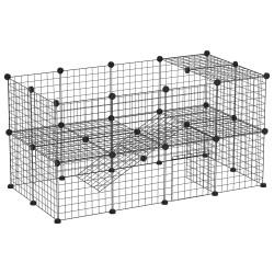 PawHut Cerca de metal Metal Pet Park com 36 painéis Pequenos animais Destacáveis DIY Design Preto 146x73x73cm