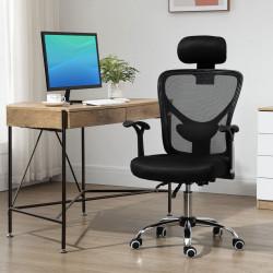 Vinsetto Cadeira de Escritório Ergonômica Cadeira de Escritório Giratória com Altura Ajustável Função Reclinável Apoio para a Cabeça e Suporte Lombar 65x67x108-118cm Preto