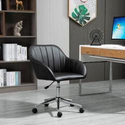 Vinsetto Cadeira de Escritório Ergonômica Giratória com Altura Ajustável Encosto e Apoio para os Braços de Pele Sintética Carga 120kg 60x59x79-89cm Preto