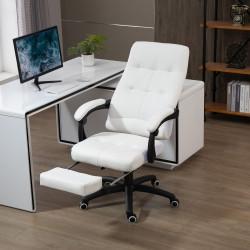 Vinsetto Cadeira de escritório ergonômica giratória com função de inclinação altura ajustável Apoio de braço e apoio para os pés em couro sintético 65x65x114-124 cm Branco