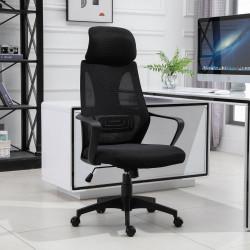 Vinsetto Cadeira de escritório ergonômica inclinável Altura ajustável 64x58x116-126 cm Preto