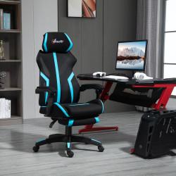 Vinsetto Cadeira de Gaming com Apoio para os Pés Retrátil Cadeira de Escritório Reclinável com Apoio para a Cabeça e Altura Ajustável 65x65x119-129cm Preto e Azul