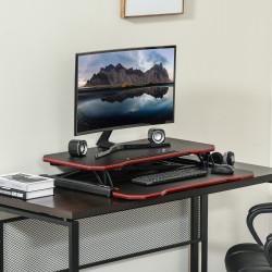 Vinsetto Suporte Elevador para Computador com Altura Ajustável Bandeja para Teclado e Suporte para Tablet Estilo Gaming 80x40x11-50,5cm Preto