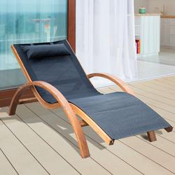 Espreguiçadeira para Jardim-Esplanada Hotel de Praia ou Piscina - Cor: Preto - Madeira - 165 x 72 x 86 cm