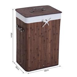 HomCom® Cesto para Roupa Suja Dobrável com Tampa Cesta de Lavandaría Retangular Bambú 70L com Asas 40x30x60cm Castanho