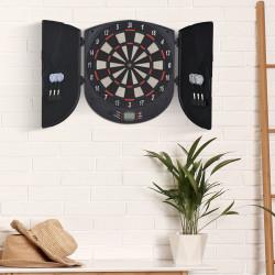 HOMCOM Alvo Eletrônico Digital com 6 Dardos até 8 Jogadores Marcador Portas Laterais Tela LCD 46.5x4.4x50.5 cm Preto