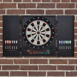HOMCOM Alvo eletrônico digital para até 8 jogadores com 12 dardos e 30 pontas com portas de tela de LED 27 jogos diferentes 51x6,5x57 cm Preto