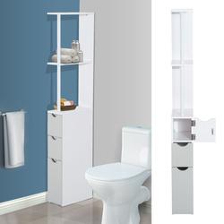 HomCom Armário Alto para Casa de Banho com 2 Prateleiras 1 Porta e 2 Gavetas - Cor: Branco - 15x33x136 cm
