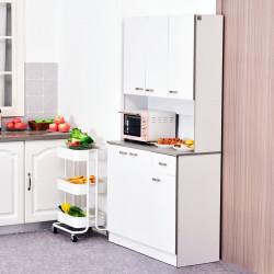 HOMCOM Armário de Cozinha com Prateleira Ajustável para Microondas 101x39x180 Branco