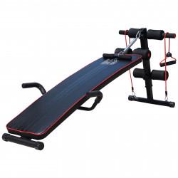 HOMCOM Banco abdominal Altura ajustável Banco de musculação Multifuncional para Fitness Treinamento de costas Abdominal Pernas Carga 120 kg com 2 cordas e 1 cabo de mola