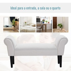 HomCom Banquinho Pé de Cama Banco com Braços Forrada tipo Banco de Madeira para Quarto Sala Entrada - 102x31x51cm