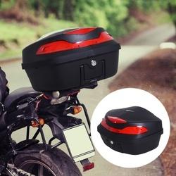 HOMCOM Baú Universal de Motocicleta 48L Com Chaves e Acessórios Topcase para Capacete de Motocicleta Motocicleta Ciclomotores Scooter