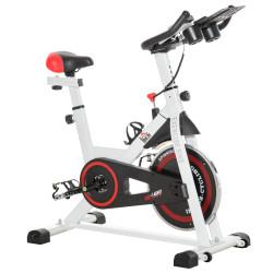 HOMCOM Bicicleta estática com tela LCD Sela ajustável Volante 8 kg Carga 100 kg 103x53x105-117,5 cm Branco