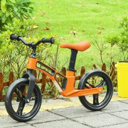 HOMCOM Bicicleta sem Pedais para Crianças de 2 a 5 anos Bicicleta de Equilibrio Infantil com Assento e Guidão Ajustáveis Rodas de Borracha 86x41x49-56cm Laranja