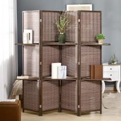 HOMCOM Biombo de 4 Painéis de Bambú Separador de Ambientes Dobrável com 2 Prateleiras Removíveis para Dormitório 180x180cm Marrom