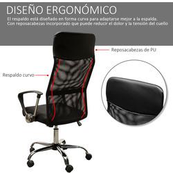 HOMCOM Cadeira de Escritório de Tecido de Malha Encosto para a Cabeça de PU Carga de 150 kg Preto