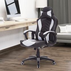 HomCom Cadeira de Escritório Giratória com 6 Pontos de Massagem e Aquecimento - Preto e branco - 68x69x108-117 cm