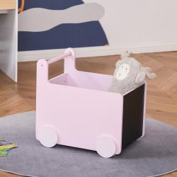 HOMCOM Caixa de Armazenamento de Brinquedos Infantil com Rodas Alça e 2 Lousas Baú de Armazenamento para Habitação de Crianças Escola Infantil Sala de Jogos 47x35x45,5cm Rosa
