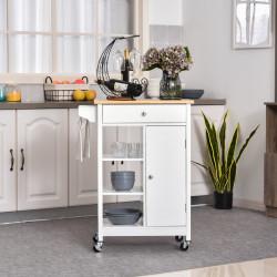 HOMCOM Carrinho de cozinha com 1 gaveta 1 armário 3 prateleiras abertas 66x39.5x86.5 cm Branco
