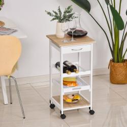HOMCOM Carrinho de Cozinha com 4 Níveis com Rodas Prateleira Gaveta Bandeja 37x37x76 cm Branco