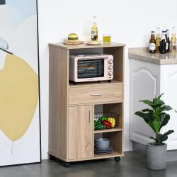 HOMCOM Carrinho de Cozinha para Microondas com 4 Rodas e Freios Gaveta Prateleiras abertas Compartimento com porta 60x40x108 cm Carvalho