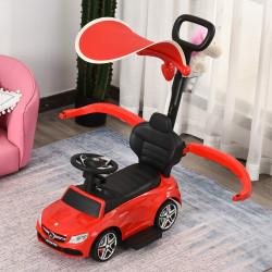 HOMCOM Carrinho para crianças acima de 1 ano Design 3 em 1 com buzina e capuz 84x40x83 cor vermelho
