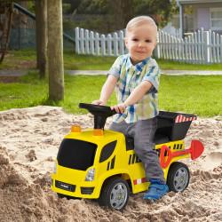 HOMCOM Carro Andador para Bebés acima de 18 meses Tipo Caminhão com Música Faróis Caixa Dobrável e Pá Veículo sem Pedais de Brinquedo 72x28,2x42cm Amarelo