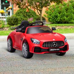 HOMCOM Carro elétrico para crianças acima de 3 anos licenciado Mercedes GTR bateria de 12V com controle remoto Faróis musica portas de abertura dupla Carga de 25kg 105x58x45 cm Vermelho