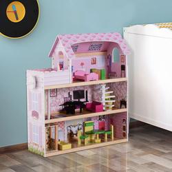 HomCom Casa de Bonecas com 13 peças Móveis Mobiliário Casita de Bonecas de Brincar Madeira 3 Pisos 60x30x71.5cm