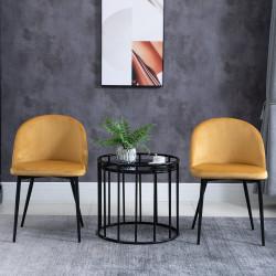 HOMCOM Conjunto de 2 cadeiras de jantar modernas estofadas 49x50 x 77cm Camelo