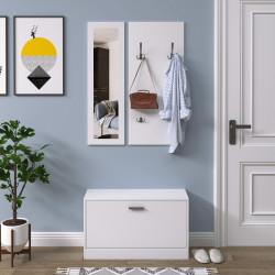 HOMCOM Conjunto de móveis de entrada 3 em 1 com sapateira com espelho e cabide com 4 ganchos para pendurar ropa para corredor 80x27x46,5 cm Branco