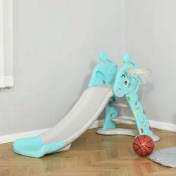 HOMCOM Escorrega Infantil Dobrável com Cesta de Basquetebol para Crianças acima de 18 meses Modelo Girafa para Interiores e Exteriores 140x87x75cm Azul e Cinza